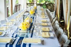 blue table runner & yellow flowers