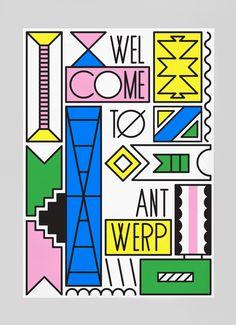 VINCENT VRINDS | Vrinds is een grafisch vormgever uit Antwerpen. Dit werk, een poster genaamd Welkom in Antwerpen - Zimbabwe maakte hij als reclame voor zijn stad.  Voor deze poster heeft Vrinds  gebruik gemaakt van geometrische vormen en kleuren die sterk geïnspireerd zijn op de Memphis group in de jaren '80. Vrinds laat zien dat deze manier van werken heel modern en vernieuwend kan zijn. Zelf vind ik de Memphis trend heel erg van nu en dit is ook wat mij aanspreekt aan Vrinds' werk.