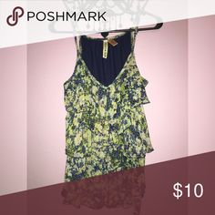 Eyeshadow ruffled tank Ruffled tank with blue and green flower print. Racerback style. Eyeshadow Tops Tank Tops