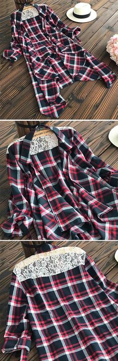 Don't you love how casual this plaid cardigan is! And yet, it's still perfectly trendy! $24.99 Only with free shipping&easy return! This lace splicing cardigan features lapel&open front design! Have it at Cupshe.com