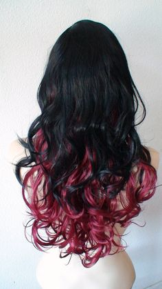 Halloween Special Black/ cherry red Ombre colored by kekeshop