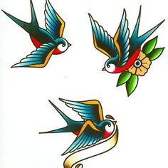 Vintage Swallows Tattoo Design