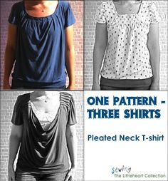 Pleated neck t-shirt - from Sewing The Littleheart Collection. Tutorial + pdf patterns (medium shirt and sleeves). Post links to site's tutorial about drafting your own pattern.