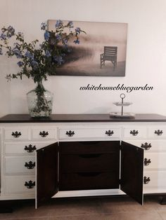 this piece has so much storage, perfect for linens, dishes etc. Thanksgiving dinner buffet?  VIintage piece in Oyster chalk paint.