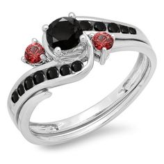 10K White Gold Black Diamond  Red Ruby Side Stones Ladies Swirl Bridal Engagement Ring Set Size 8 * You can get additional details at the image link.