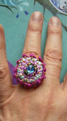 Häkelring Crochetring Ring boho bunt | Etsy Crochet Rings, Beaded Crochet, Aqua Glass, Boho Rings, Bunt, Etsy, Jewellery, Pearls, Cotton