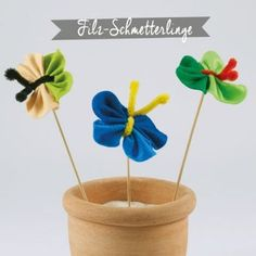 Filz-Schmetterlinge Planter Pots, Material, Wrap Around, Home Made, Felting, Craft, Game, School, Plant Pots