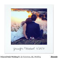 Vintage Polaroid Style Wedding Photo Thank You Card