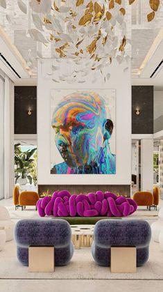 Dream Home Design, Home Interior Design, Colorful Interior Design, Colorful Interiors, Living Room Decor, Bedroom Decor, Bedroom Bed, Deco Originale, Aesthetic Room Decor