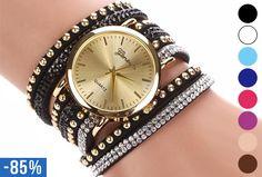 Glam armbandhorloge nu slechts €5,95 | 85% korting! #glamorous #armband #horloge #studs #kristallen