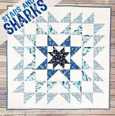 Add a little whimsy to your next lap quilt with this fun Stars and Sharks Lap Quilt Pattern. A variation of a traditional star quilt pattern, this DIY throw quilt is designed using fun summery shark prints. Lap Quilt Patterns, Jelly Roll Quilt Patterns, Block Patterns, Star Patterns, Lap Quilts, Small Quilts, Quilt Blocks, Crib Quilts, Star Blocks