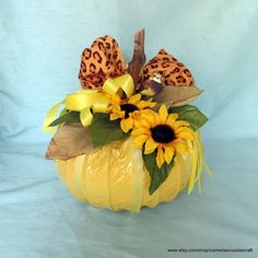 Items similar to Yellow pumpkin_fall decor_dryer vent pumpkin with owl and leopard print ribbon_halloween, fall, autumn, thanksgiving on Etsy Fall Crafts, Arts And Crafts, Diy Crafts, Wreath Crafts, Holiday Crafts, Holiday Ideas, Turkey Wreath, Pumpkin Wreath, Pumpkin Crafts