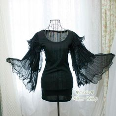 Dramatic whimsical pleated chiffon layered bell sleeves dress bodycon black