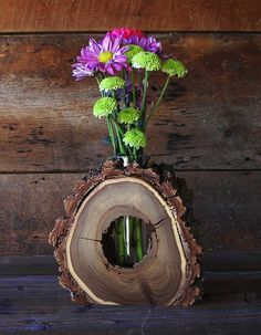 Slice of wood vase - Wooden decor delights