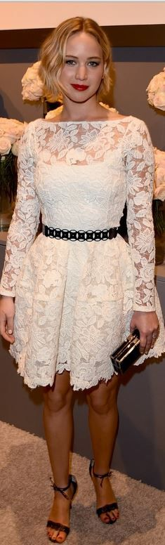 Who made Jennifer Lawrence's white lace long sleeve dress and sandals that she wore in Beverly Hills on October 20, 2014