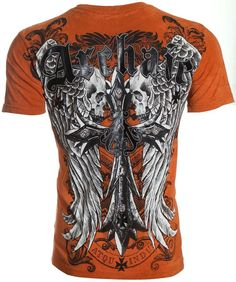 Archaic AFFLICTION Mens T-Shirt LUSTROUS Skulls Wings Tattoo Biker UFC M-4XL $40 #Affliction #GraphicTee