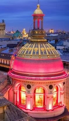Pink Lighted dome Paris, France
