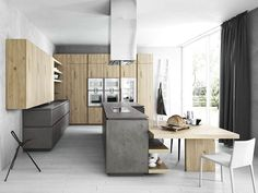 FITTED KITCHEN WITH ISLAND WITHOUT HANDLES CLOE - COMPOSITION 2 | CESAR ARREDAMENTI