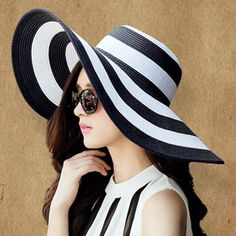 b0c49cef788 Chic Wide Brim Black and White Striped Pattern Sun Hat For Women. Summer  Hats ...