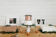 dessert table with metallic cake - photo by Rachel Meagan Photography http://ruffledblog.com/industrial-texas-wedding-with-romantic-minimalism