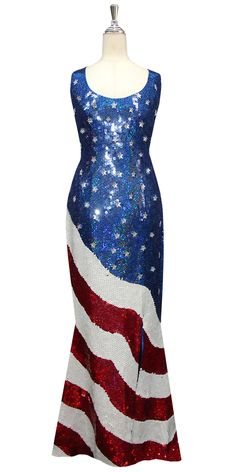 e5df4d718f9a Long Handmade Patterned Sequin Stars and Stripes USA Gown in Red, White and  Blue. SequinQueen.com