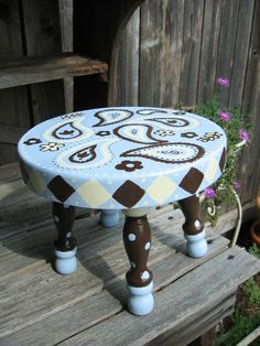 Hand Painted Kids Stool In Paisley Blue.