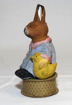 Paper Mache Composition Rabbit Candy Container