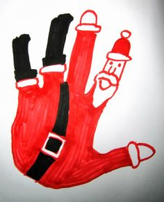 Santa Hand! This would be cute to have grandchildren do each hand and give to their mother.
