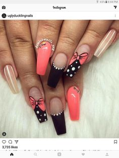 Unique Summer Coffin Nails Designs For You - Nail Art Connect Every season brings a new nail idea. Summer manicures need a variety of colors. Colorful colors make people happier. Cute Nails, Pretty Nails, My Nails, Acrylic Nail Art, Acrylic Nail Designs, Nail Polish Designs, Nail Art Designs, Coral Nail Designs, Creative Nail Designs