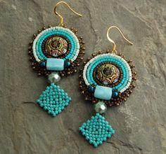Artemis - Perlen bestickt Stammes-Vegan Ohrringe, große Türkis und Bronze-Perlen-Ohrringe, Gold Plated aus