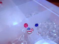 USA Heart Flag Floating Charm-USA Heart Flag Memory Charm-Living Locket-Memory Locket-Origami Locket-Floating Locket-Crystal Floating Charm