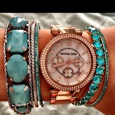 turquoise + rose gold!  #fashion #trends #womensfashion LOVE THIS COMBINATION!! rose gold accessories, turquoise accessories, color combos, rose gold and turquoise, fashion trend, fashion styles, michael kors watch, fashion accessories, arm candies