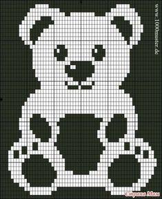 Free Filet Crochet Charts and Patterns: Filet Crochet Bear - Chart A Baby Knitting Patterns, Knitting Charts, Crochet Blanket Patterns, Knitting Designs, Baby Patterns, Cross Stitch Patterns, Afghan Patterns, Crochet Teddy, C2c Crochet