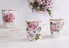 Kubki z motywem pięknych kwiatów w odcieniach różu i ozdobnym paskiem u góry naczynia. Herbata w odpowiednim kubku potrafi stworzyć naprawdę miły romantyczny nastrój. #kubek #czasnakawę #czas na herbatę #porcelana Tea Cups, Mugs, Tableware, Dinnerware, Tumblers, Tablewares, Mug, Dishes, Place Settings