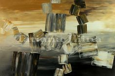 Abstract Art Palette Knife Original Painting Handmade Large black white by ILIINA - Made-to-order