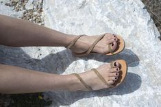 Ancient greek sandals, Classic sandals, Hand made leather sandals, Gold sandals, Women sandals, NY leather stories