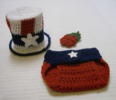 Newborn Baby July 4th Uncle Sam Top Hat and Diaper Cover-Hand Crochet-Photo Prop #Handmade