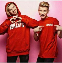Romantic Letters Hoodie Red Cotton Marcus and Martinus Dream Boyfriend, Red Hoodie, Handsome Boys, My Boys, Fangirl, Twins, Marie, Graphic Sweatshirt, Celebs