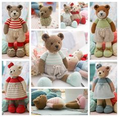 TEAROOM Bear: Method 2 PDF knitting pattern ... Knitted bears in many colours..xx