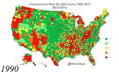 Unemployment Rate By USA County from 1990-2013 in under 50 seconds |via Just-maps