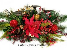 Decorated Christmas Candleholder Centerpiece Holiday Floral