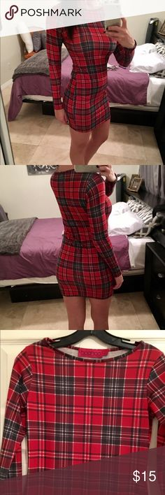Boohoo Brand Sexy Red Plaid Bodycon Mini Dress Boo Hoo Brand Sexy Red Plaid Bodycon Mini Dress. Fits XS - SM. Stretchy. Gently worn. Boohoo Dresses