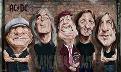 Caricatura de AC/DC.// Issu de ce blog http://castdibujos.blogspot.com.es/