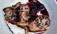 The white stuff: grilled lamb with labneh and blackberry sauce.