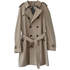 Pre-owned Burberry Beige Cotton Coat (14,440 MXN) ❤ liked on Polyvore featuring men's fashion, men's clothing, men's outerwear, men's coats, beige, men clothing coats, mens trench coat, mens cotton trench coat, mens coats and burberry mens coat
