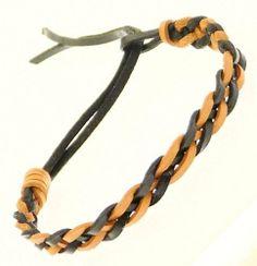 Mens Womens Real Leather Plaited Wristband Bracelet - E Neptune Giftware. $6.99
