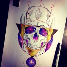 • space skull • #skull #space #geometric #tattoo #idea #draw #art