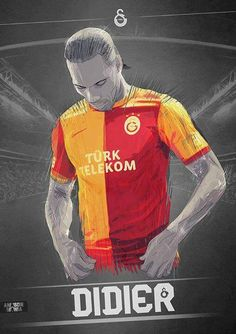Galatasaray / Didier Drogba Sports Clubs, Chelsea Fc, Mobile Wallpaper, Football Players, Illustrations Posters, Liverpool, Blues, Soccer, Baseball Cards