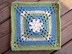 "Pretty petals - 12"" square  #crochet #square #flower #motif"