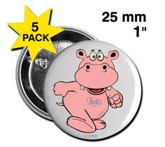 Nilpferdige Artikel der Marke Lalli & Loops - Buttons klein 25 mm